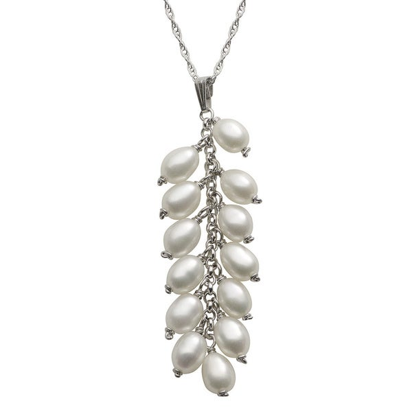 Pearls For You Sterling Silver White Freshwater Drop Pearl Cluster Pendant Necklace (4-5 mm)