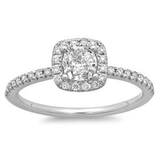 14k White Gold 3/4ct TDW Cushion-cut Diamond Halo Engagement Ring (G-H, SI2-I1)