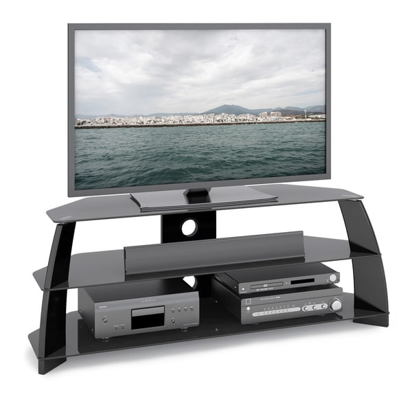 CorLiving Taylor Glossy Black TV Stand with Glass Shelves