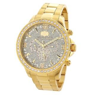 Luxurman Men's Liberty 18k Yellow Goldplated Diamond Watch