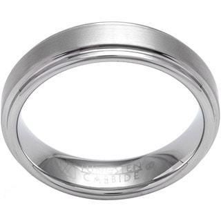 Cambridge White Tungsten Carbide Men's Satin Finish Comfort Fit Wedding Band