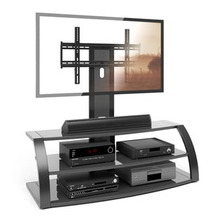 CorLiving Malibu TV Stand with Mount and Black Metal Uprights