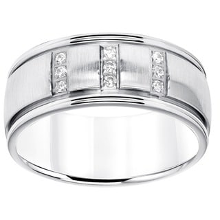 Cambridge Stainless Steel Men's 1/8ct TDW 9mm Diamond Wedding Band (I-J, I2-I3)