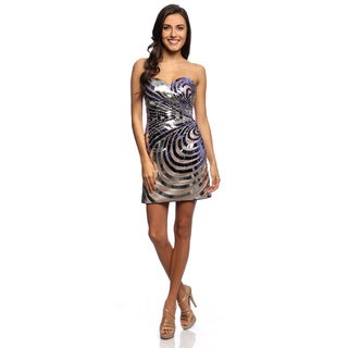 Daniella Couture Women's Purple/ Silver Metallic Sequence Short Dress