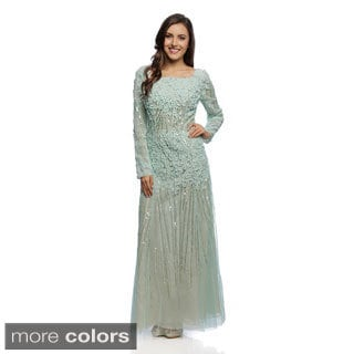 Daniella Couture Women's Floral Sequin Long Sleeve Gown