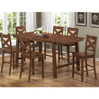 Vintage Dark Oak Finish Wood Plank 7-piece Counter Height Dining Set