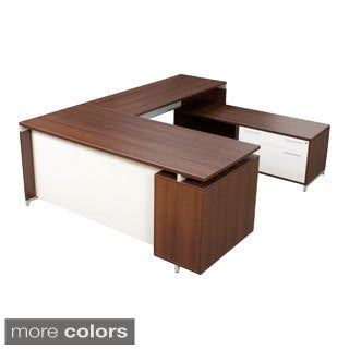 71-inch U-Desk with Lateral File/ Open Storage Cabinet Low Credenza