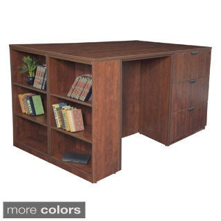 Stand Up 2 Lateral File/ 2 Desk Quad with Bookcase End