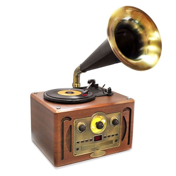 PyleHome Vintage Classic Style Turntable Horn Phonograph