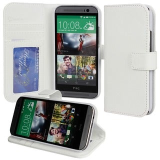 Abacus24-7 White HTC ONE M8 PocketBook Wallet Case Cover