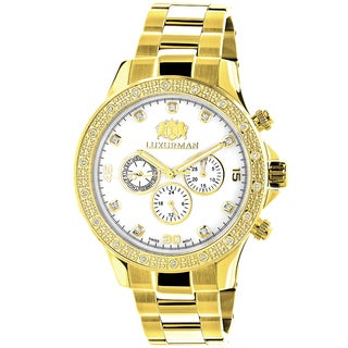 Luxurman Men's White MOP Liberty 0.2ct Diamond 18k Yellow Gold-plated Watch with Metal Band and Extra Leather Straps