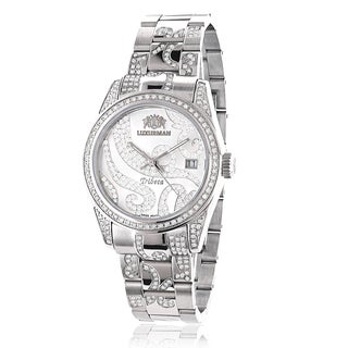 Luxurman Women's Tribeca Platinum-plated 3ct Diamond Watch with Metal Band and Extra Leather Straps