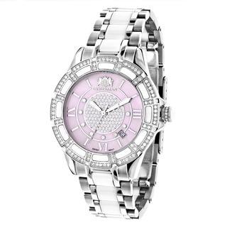 Luxurman Women's 'Galaxy' White Ceramic 1.25ct Diamond Watch