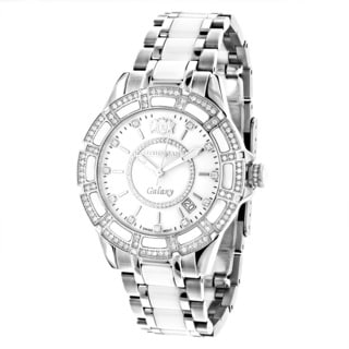 Luxurman Women's 'Galaxy' White MOP Ceramic 1.25ct Diamond Watch