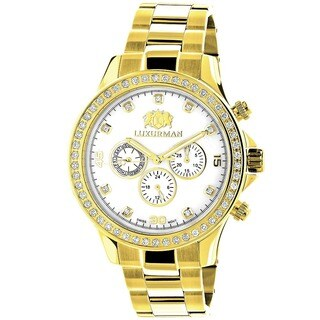 Luxurman Men's 'Liberty' Yellow Gold-plated 2ct Diamond Watch