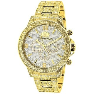 Luxurman Men's 'Liberty' 18k Yellow Gold-plated 1.25ct Diamond Watch