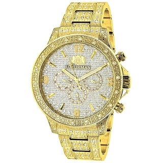 Luxurman Men's Liberty 18k Yellow Gold-plated 1.25ct Diamond Watch with Metal Band and Extra Leather Straps