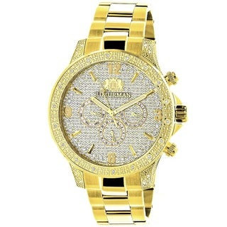 Luxurman Men's 'Liberty' 18k Yellow Gold-plated Diamond Watch