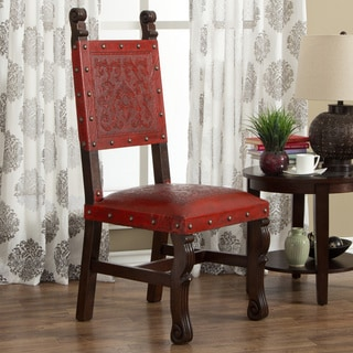 Handmade Red Leather and Nail Head Trim Accent Chair (Peru)