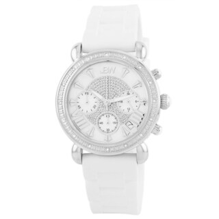 JBW Women's White Silcone Stainless Steel Diamond Watch