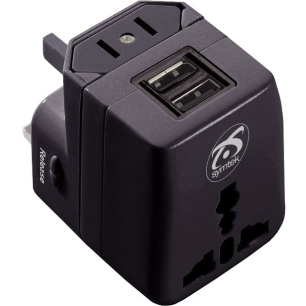 Symtek WorldPlug Dual USB Universal Travel Adapter & Charger