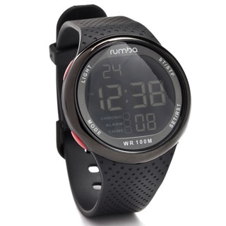 RumbaTime 'Park' Black Silicone Sport Watch