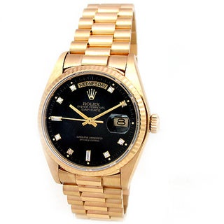 Pre-Owned Rolex Men's President 18k Yellow Gold Diamond Dial Watch