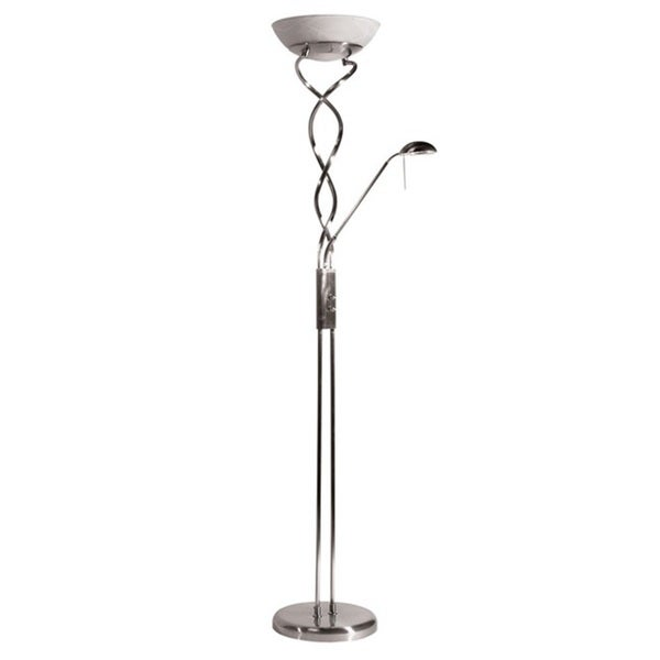 twist torchiere 3 light satin chrome floor lamp with reading light. Black Bedroom Furniture Sets. Home Design Ideas