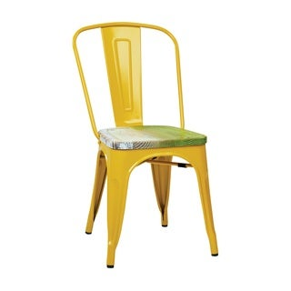 Yellow Vintage Sheet Metal Bistro Chair with Antique Wood Seat (Set of 4)