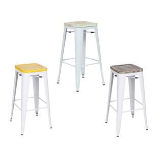 White Metal/ Antique Wood Vintage Bistro Counter Stool (Set of 4)