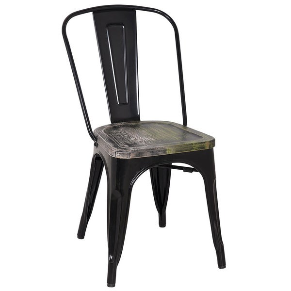 Black Frame Vintage Sheet Metal French Cafe And Bistro Armless Chairs Set Of