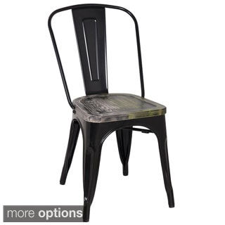 Black Frame Vintage Sheet Metal French Cafe and Bistro Armless Chairs (Set of 4)
