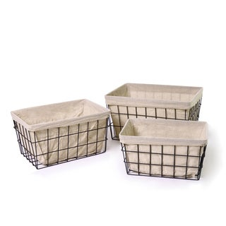 Adeco Rectangular Minimalist Rustic Iron Baskets (Set of 3)