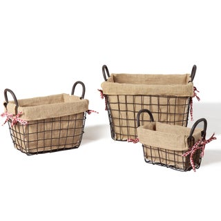 Adeco Rectangular Rustic Iron Multi-purpose Baskets (Set of 3)