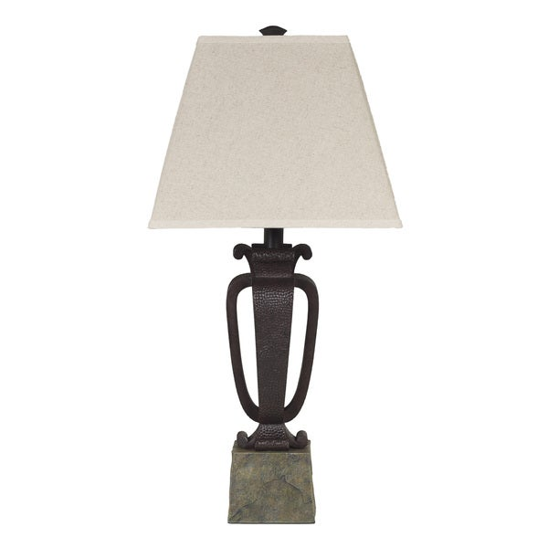 Rust Metal and Faux Slate Finish Table Lamp (Set of 2)