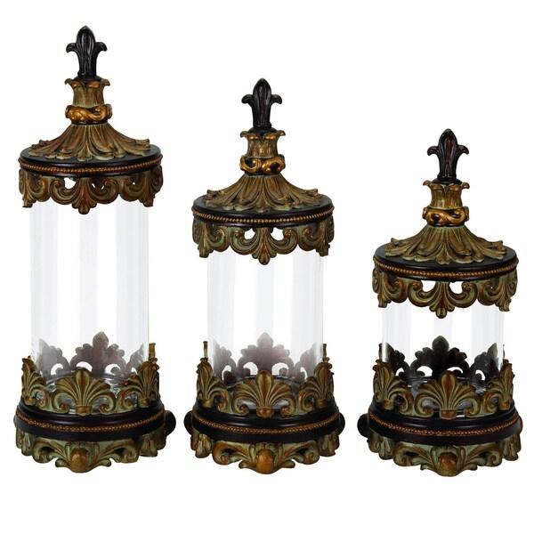 Casa Cortes Antiqued Gold Fleur De Lis 3 Piece Glass
