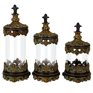Casa Cortes Antiqued Gold Fleur-de-Lis 3-piece Glass Cylinder Canister Set