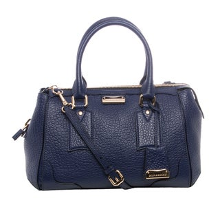 Burberry 'Gladstone' Small Regency Blue Leather Heritage Grain Satchel