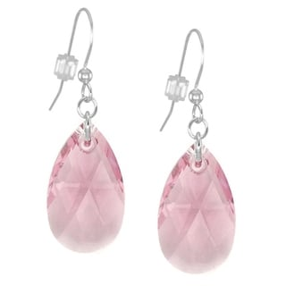 Jewelry by Dawn Large Pink Crystal Pear Sterling Silver Earrings