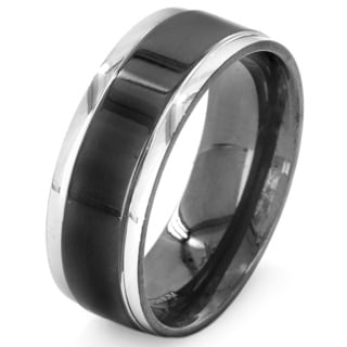 Two-tone Black Plated Titanium Men's Step Edge Band Ring