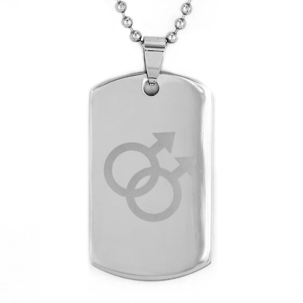 Stainless Steel Double Male Equality Dog Tag Pendant Necklace