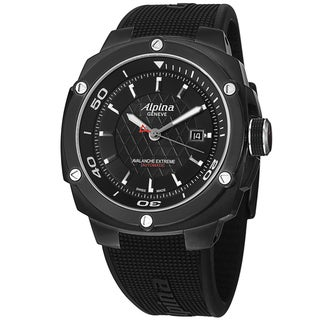 Alpina Men's AL-525LBB5FBAE6 'Adventure' Black Dial Black Rubber Strap Watch