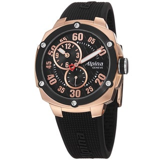 Alpina Men's AL-650BB3AE4 'Adventure' Black Dial Black Rubber Strap Watch