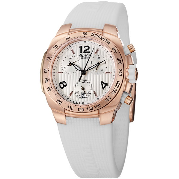 Alpina Women's AL-350LWWW2A4 'Avalanche' Rose Goldtone Chronograph White Rubber Strap Watch