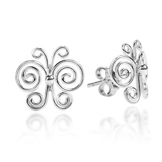 Enchanted Swirls Butterfly Sterling Silver Post Earrings (Thailand)