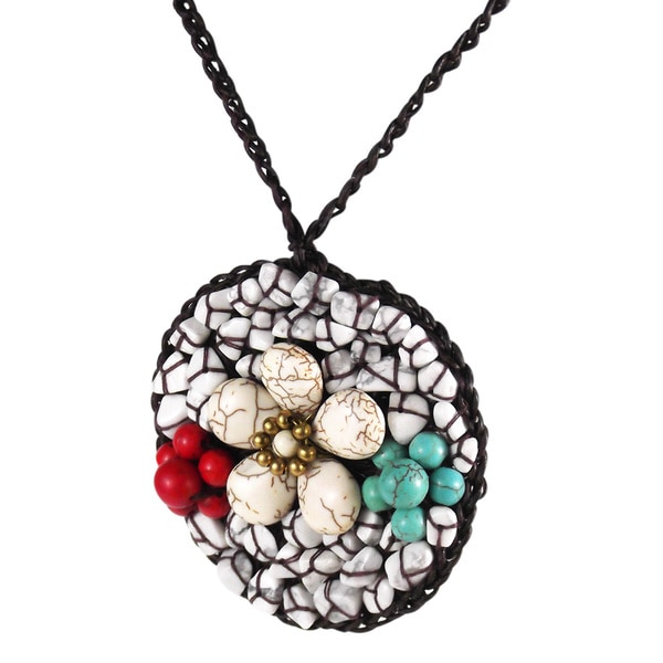Floral Round Summer Daisy Mix Stones Handmade Necklace (Thailand)