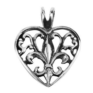 Elegant Open Fleur de Lis in Heart Sterling Silver Pendant (Thailand)