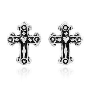 Love and Faith Mini Cross .925 Silver Stud Earrings (Thailand)