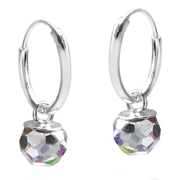 Rainbow Crystal Prism Ball .925 Silver Hoop Earrings (Thailand)