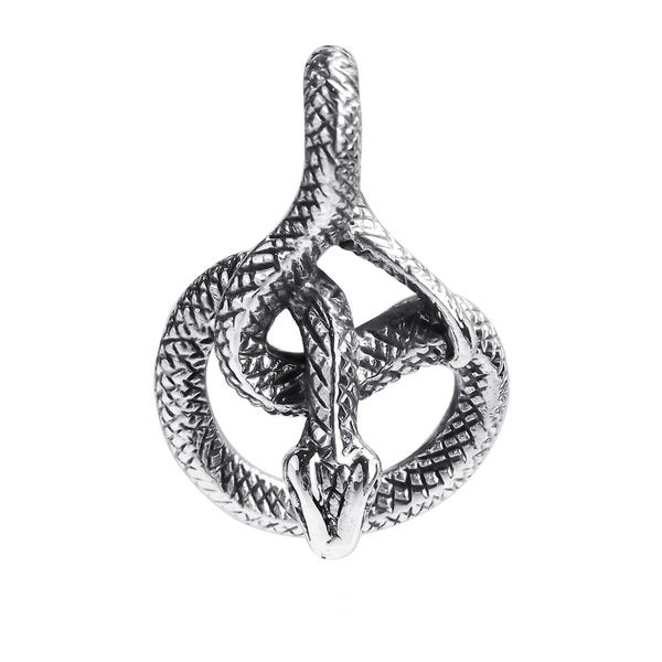 Coiled Sly Upside Down Snake Sterling Silver Slide Pendant (Thailand)